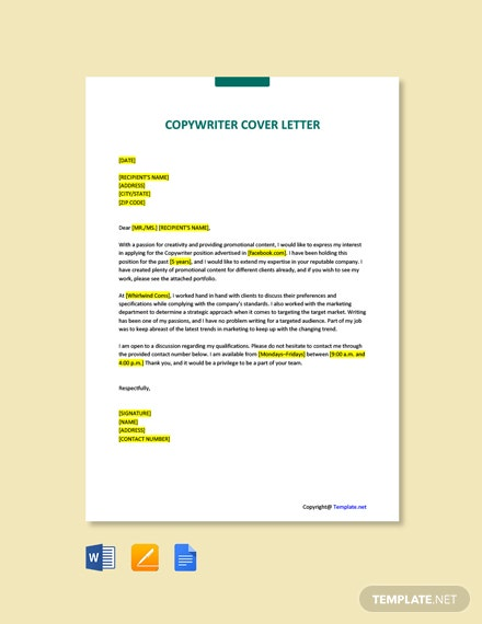 Free Copywriter Cover Letter Template