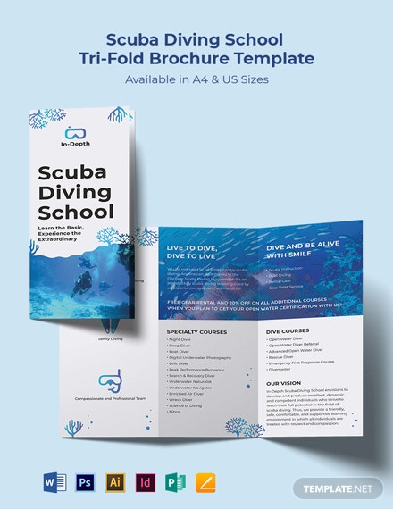 Scuba Diving School Tri-Fold Brochure Template