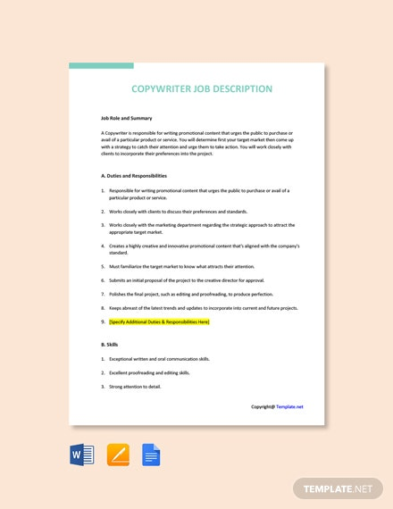 Free Copywriter Job Ad/Description Template