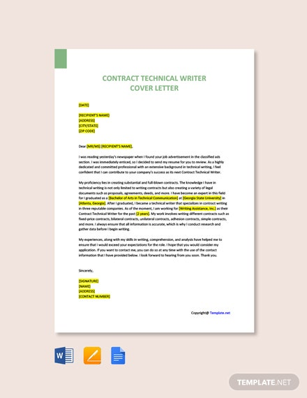 Free Contract Technical Writer Cover Letter Template