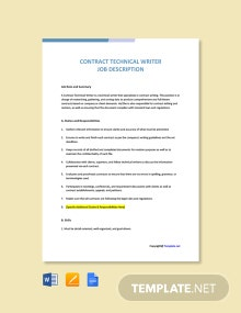 Free Contract Technical Writer Job Description Template