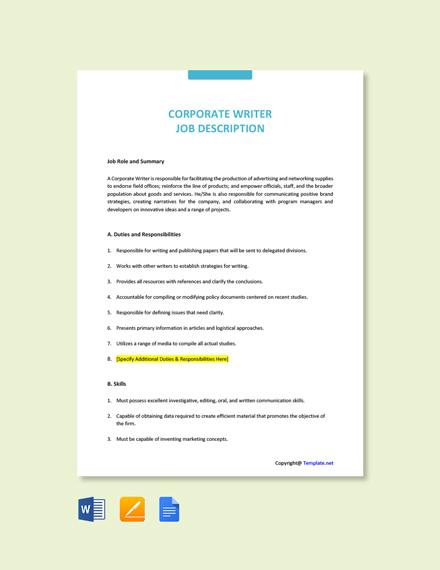 Free Corporate Writer Job Ad/Description Template