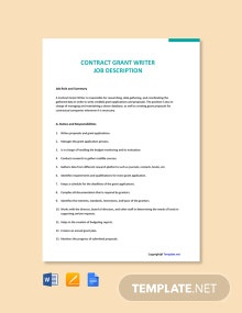 Free Contract Grant Writer Cover Letter Template
