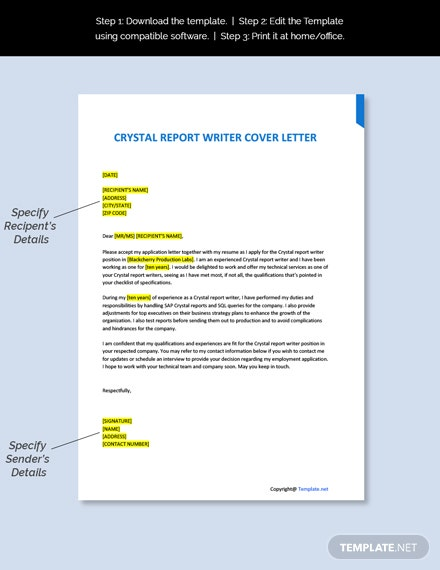 Crystal Report Writer Cover Letter Template