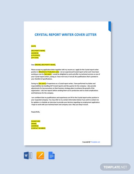 Free Crystal Report Writer Cover Letter Template