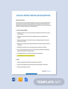 Free Crystal Report Writer Job Description Template