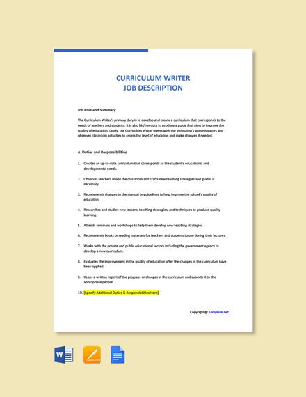 Free Curriculum Writer Job Description Template