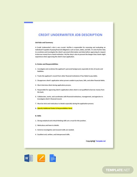 Free Credit Underwriter Job Ad/Description Template