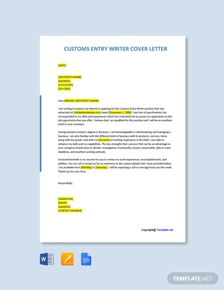 Free Customs Entry Writer Cover Letter Template