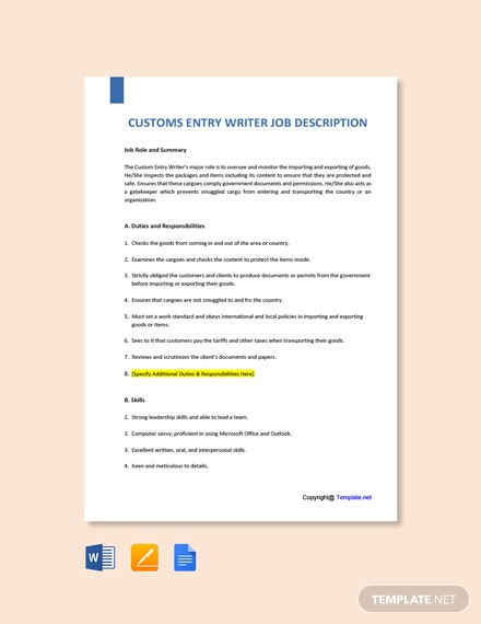 Free Customs Entry Writer Job Ad/Description Template