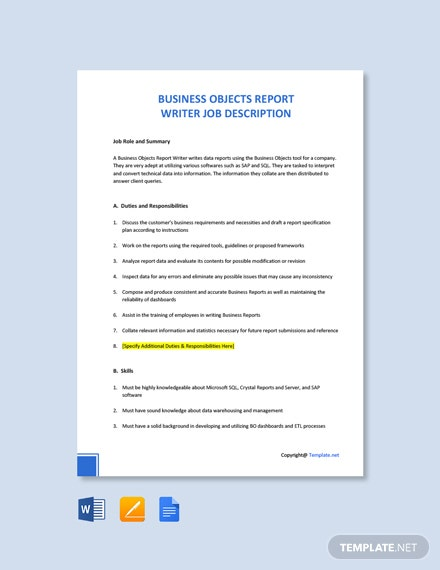 Free Business Objects Report Writer Job Description Template