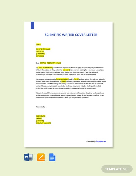 Free Scientific Writer Cover Letter Template