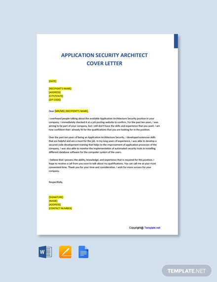 Free Application Security Architect Cover Letter Template