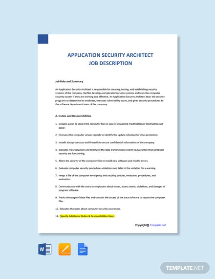 Free Application Security Architect Job Description Template