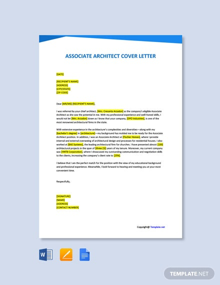 Free Associate Architect Cover Letter Template