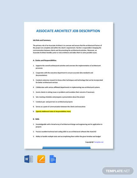 Free Associate Architect Job Description Template