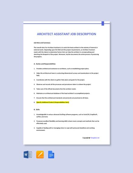 Free Architect Assistant Job Description Template