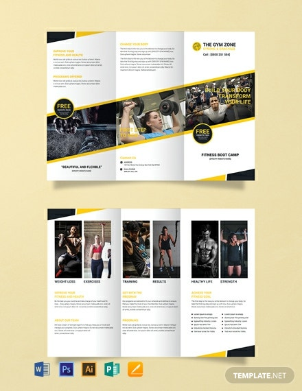 Gym Tri-Fold Brochure Template