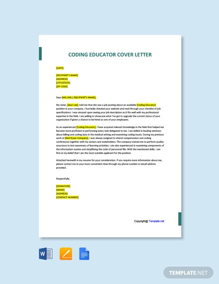 Free Coding Educator Cover Letter Template