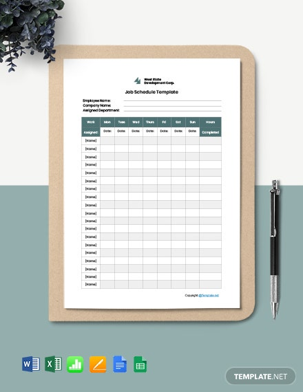 Free Editable Job Schedule Template