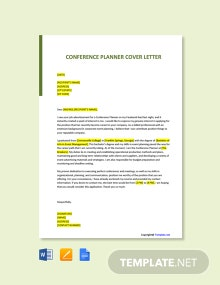 Free Conference Planner Cover Letter Template