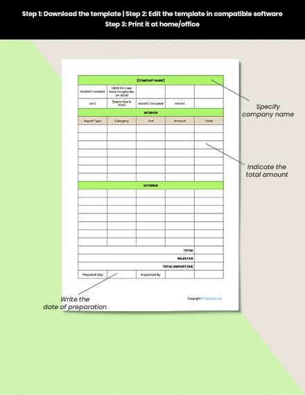 Editable Home Repair Estimate Format