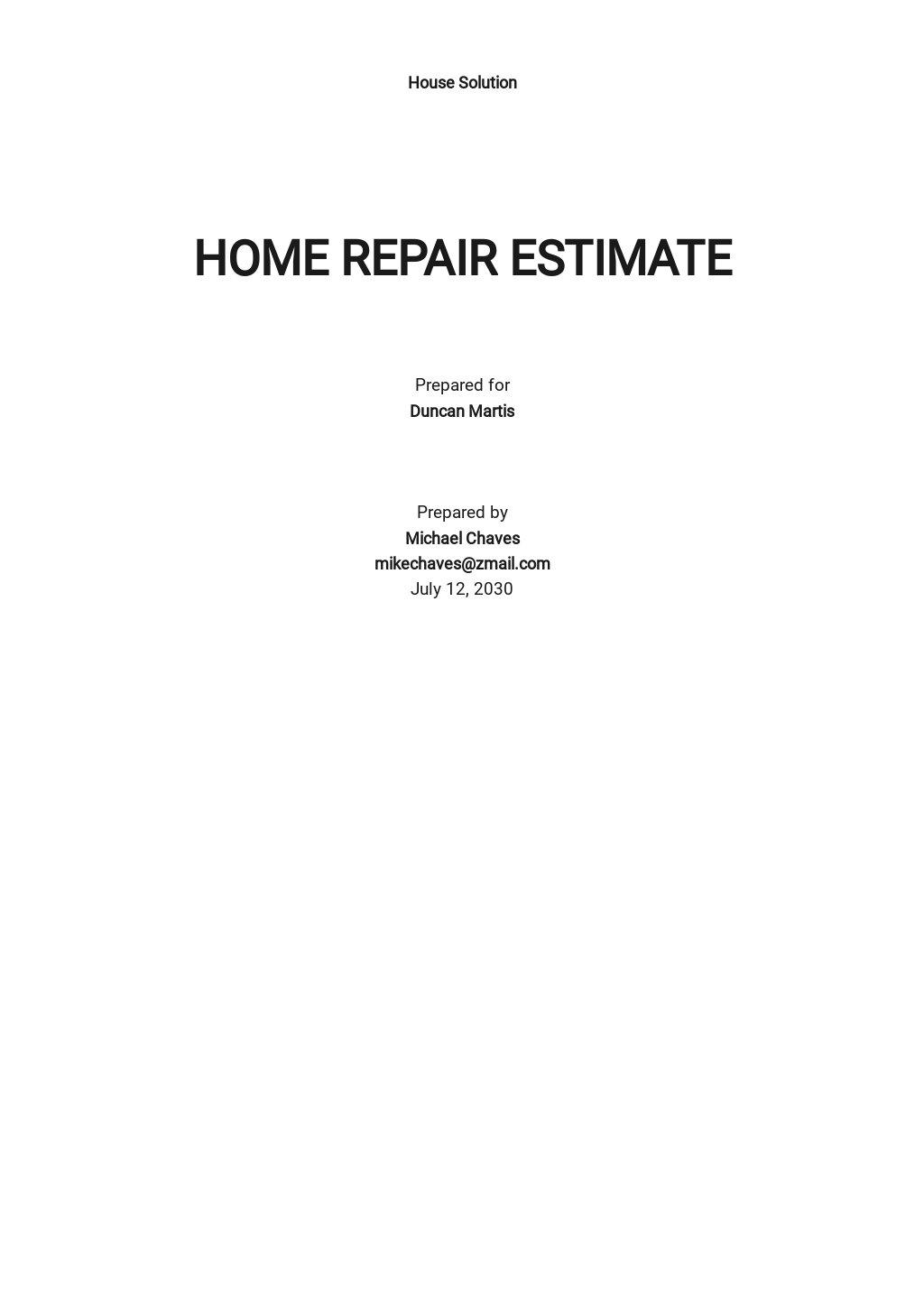 Editable Home Repair Estimate Template