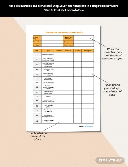 Sample Residential Construction Schedule templates