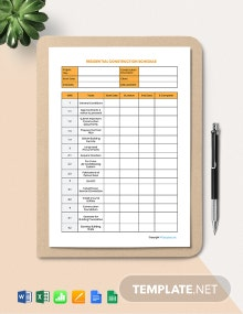 Free Sample Residential Construction Schedule Template