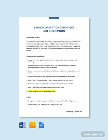 Free Branch Operations Manager Job Ad/Description Template