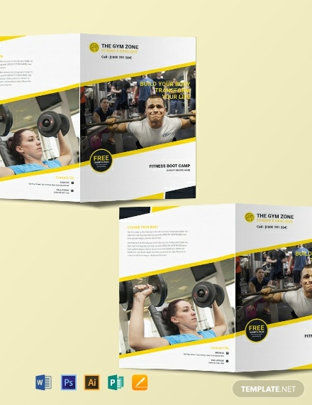 Free Gym Bi-Fold Brochure Template