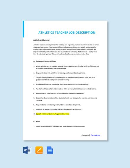Free Athletics Teacher Job Ad/Description Template
