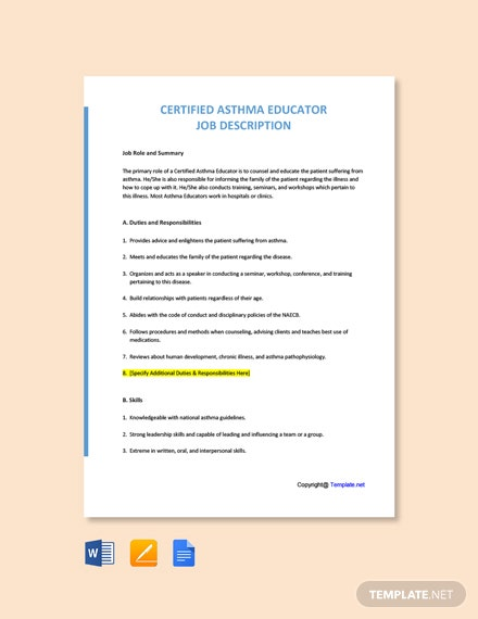 Free Certified Asthma Educator Job Ad and Description Template