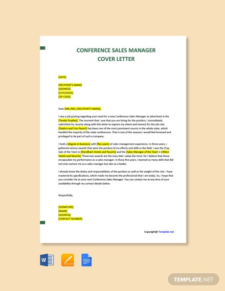 Free Conference Sales Manager Cover Letter Template