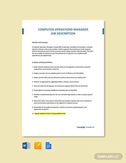Free Computer Operations Manager Job Ad and Description Template