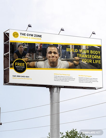 Free Gym BillBoard Banner Template