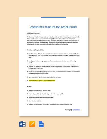 Free Computer Teacher Job Description Template