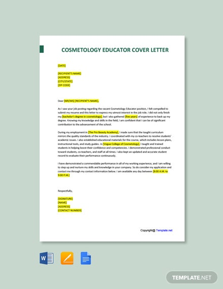 Free Cosmetology Educator Cover Letter Template