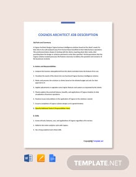 Free Cognos Architect Job AD/Description Template