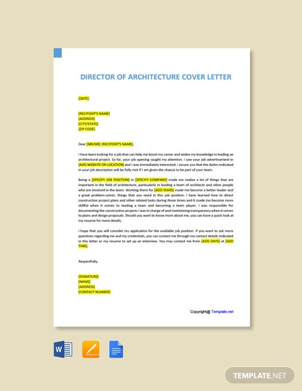 Free Director of Architecture Cover Letter Template