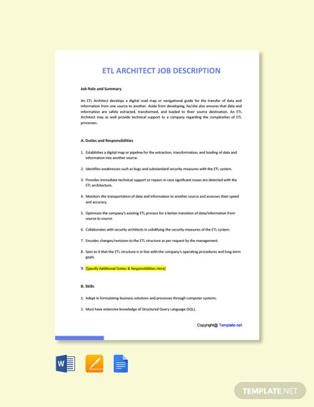 Free ETL Architect Job AD/Description Template