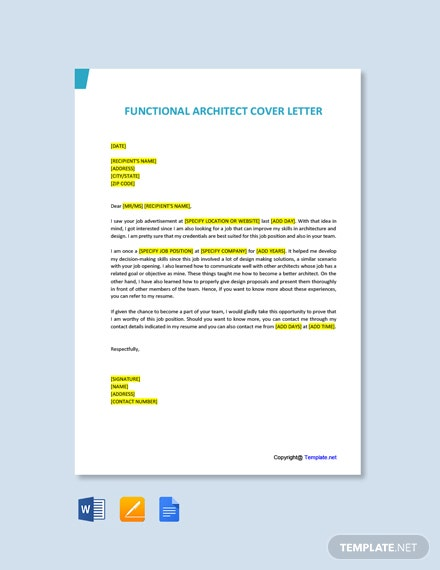 Free Functional Architect Cover Letter Template