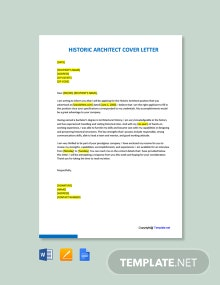 Free Historic Architect Cover Letter Template