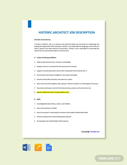 Free Historic Architect Job Description Template