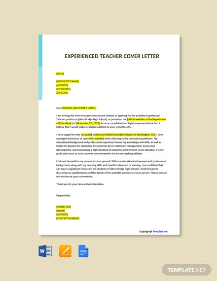 Free Experienced Teacher Cover Letter Template