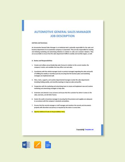 Free Automotive General Sales Manager Job Ad/Description Template