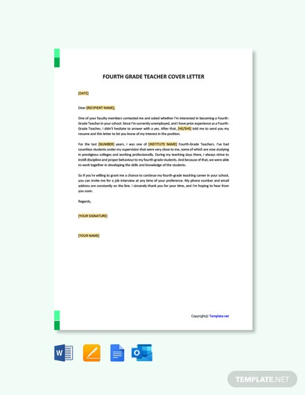 Free Fourth Grade Teacher Cover Letter Template
