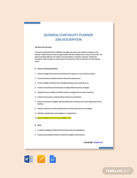 Free Business Continuity Planner Job Description Template