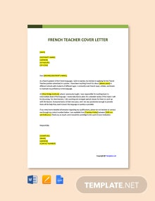 Free French Teacher Cover Letter Template