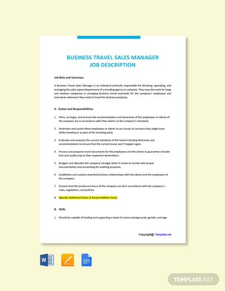 Free Business Travel Sales Manager Job Ad/Description Template